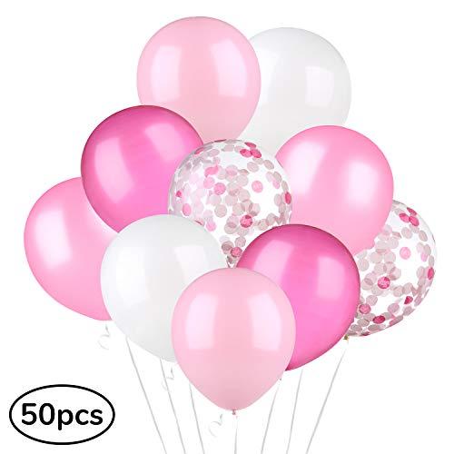 ecooe 50 Stück Perle Latex Luftballons 12 Zoll Konfetti Ballons 5 Farben Rosa Hellrosa Fuchsie Weiße Konfetti Ballons für Baby-Duschen, Hochzeiten, Geburtstage Party Dekorationen