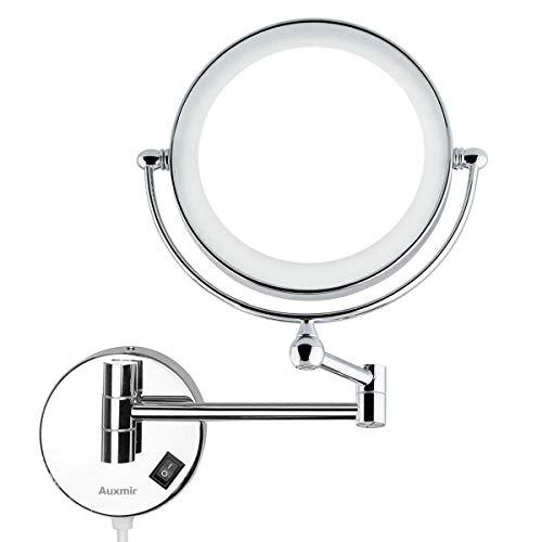 Auxmir Kosmetikspiegel mit LED Beleuchtung und 1-/ 5-facher Vergrößerung aus Kristallglas, Edelstahl und Messing, Doppelseitig, Rostfrei, für Badezimmer, Kosmetikstudio, Spa und Hotel