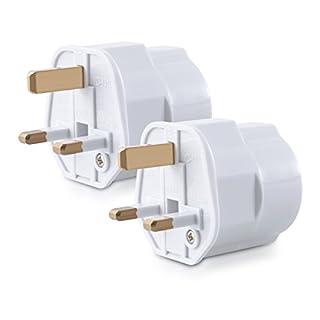 kwmobile 2X Reiseadapter Adapter Stecker für England - Reisestecker Stromadapter Schuko EU zu UK Steckdose - Travel Plug Schottland Irland in Weiß