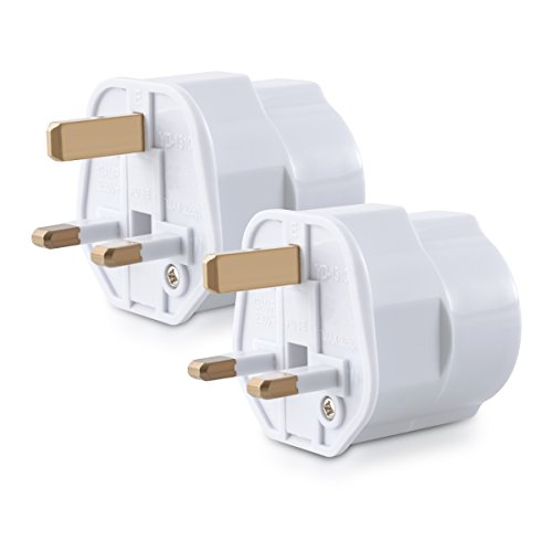 kwmobile 2X Reiseadapter Adapter Stecker für England - Reisestecker Stromadapter Schuko EU zu UK Steckdose - Travel Plug Schottland Irland in Weiß (Elektrische Konverter Für Irland)