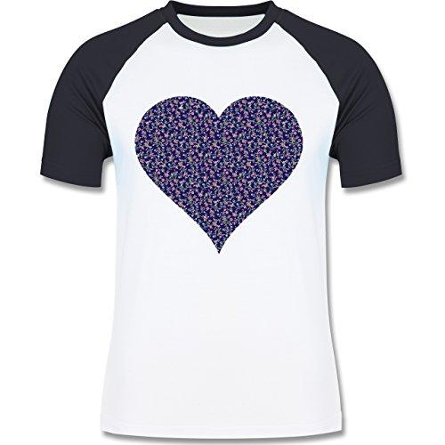 Vintage - Herz Blumen dunkelblau - zweifarbiges Baseballshirt für Männer Weiß/Navy Blau