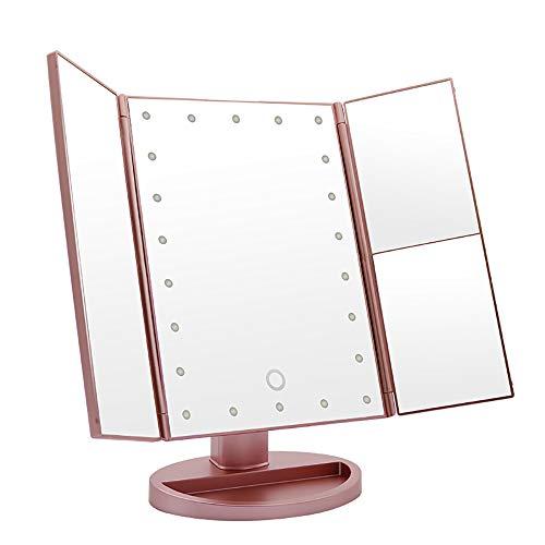 Lucky star ZLY Kosmetikspiegel mit Beleuchtung, 2X / 3X Vergrößerung, 22 LED beleuchteter Spiegel mit Touchscreen, um 180 ° drehbar, doppelte Stromversorgung, tragbarer dreifach gefalteter Spiegel Star Touch Screen