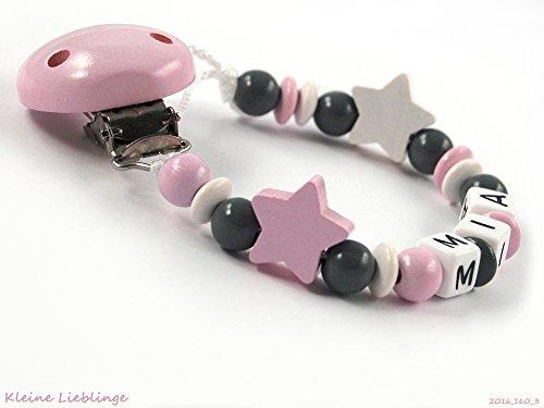 Preisvergleich Produktbild Schnullerkette mit Namen für Mädchen mit 2 Sternen - rosa weiß grau für Mädchen (3 Buchstaben)