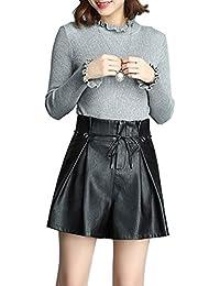 Sidiou Group Short Taille Haute Femme Short en Cuir PU Pantalon Large  Ceinture en Cuir Ajustable fab6eea41af