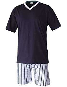 Herren Schlafanzug kurz Herren Pyjama kurz Herren Shorty Schlafanzug aus 100% Baumwolle