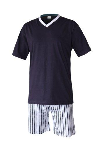 Herren Schlafanzug kurz Herren Pyjama kurz Herren Shorty Schlafanzug aus 100% Baumwolle (L/50-52, oberteil rauch blau/hose gestreift)