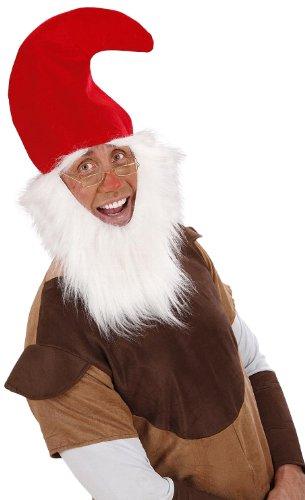 Zwerg Kostüm Amazon (Widmann 3061D - Zwergen - Mütze rot, mit Bart und)