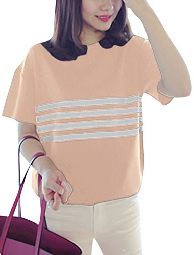 Femme Col Rond Manches Courtes Horizontal Rayures Pull-over T-Shirts Rose Pâle