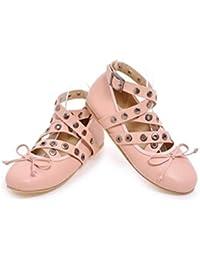 OL Flat Tobillo Corbatas Aerobic Ballet Round Toe Casual Zapatos de Decoración de Remache UE tamaño personalizado 33-43 , pink , 46 (not returned)