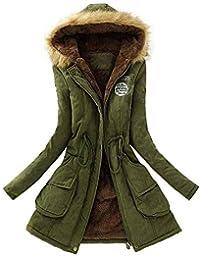 Qiusa Cappotto Invernale da Donna Parka con Cappuccio in Pelliccia (Colore    Army Green 599f9f9e402