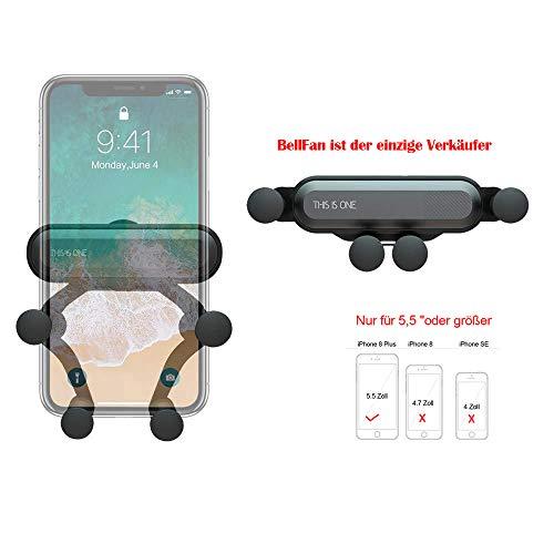 """BellFan Handyhalterung für Auto, Schwerkraft Auto Handyhalterung Air Vent Universal-Kfz-Handyhalter kompatibel füriPhone XS MAX/XS/XR, Galaxy S10/S10+ (Für 5,5""""oder größere Telefone)(Schwarz)"""