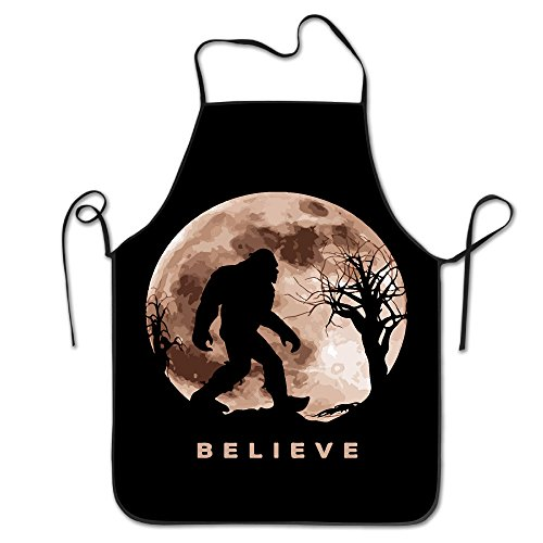 Funny Bigfoot Sasquatch Full Moon.PNG Unisex Cooking Kitchen Aprons Chef Apron Bib