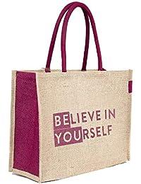 H&B Unisex Jute Beige Shopping Bag - Large