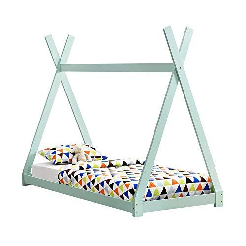 [en.casa]] Cama para niños pequeños - Cama Infantil 200x90cm Estructura Tipi de Madera Pino Color Verde Menta