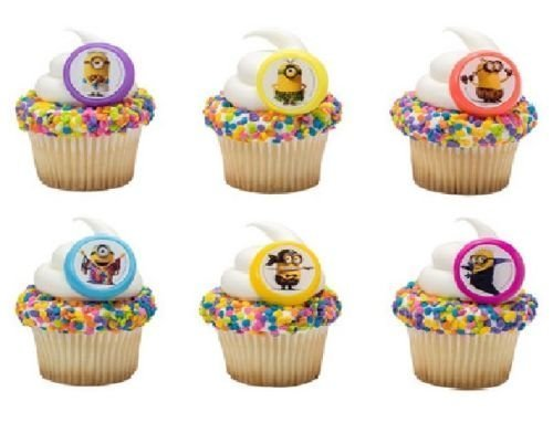 spicable Me Evolution Character 24 Party CUPCAKE Favors Toppers RINGS by CakeDrake ()