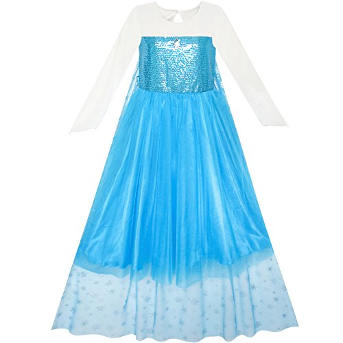 Mädchen Kleid Karikatur Kostüm Prinzessin Elsa Mantel Kleiden Gr. 110 (Kleider Kommunion Boutique)