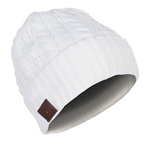 URCOVER® Copricapo Cappello Berretto Bluetooth | Auricolari Integrati Cuffie Stereo Microfono Vivavoce per Chiamate Wireless | Caldo e Morbido Beanie in Avorio | Suono Alta Qualitá Ricaricabile