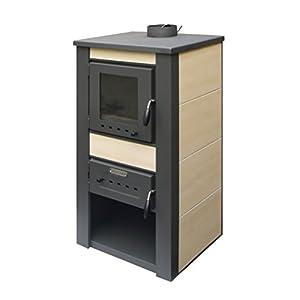 acerto 20074 ALPINA Kaminofen wasserführend, creme – 48x48x105 cm 13 kW für 80-100 qm Sichtfenster | Hochwertiger Schwedenofen für Holz, Briketts & Kohle | Moderner Holzofen für Kamin-Anschluss