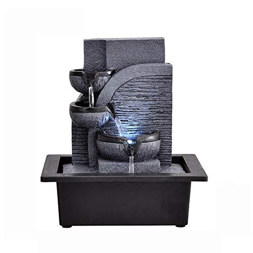 SFXYJ Innenwasserbrunnen mit LED-Licht oder magischer Kristallkugel, Edelstein-Feng Shui-Verzierungen groß für Büro, Wohnzimmer, Schlafzimmer,D