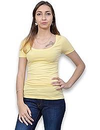 Tee shirt manches courtes femme - Tee shirt femme de la collection B.YOUNG de couleur jaune