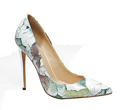 Ruanlei@Damen Spitz High Heels Kleid-Partei Pumps/High Heel Pumps/Abendschuhe/Heels T-Spangen Pumps mit NietenStilvolle Graffiti und vielseitige high-heel Schuhe Mädchen, Wand Farbe 36 (Wand Heels)