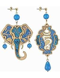 Lebole Gioielli Collezione Bonheur orecchino Elefante azzurro in legno, argento galvanizzato oro e tessuti indiani. Tutti gli elementi sono made in Italy