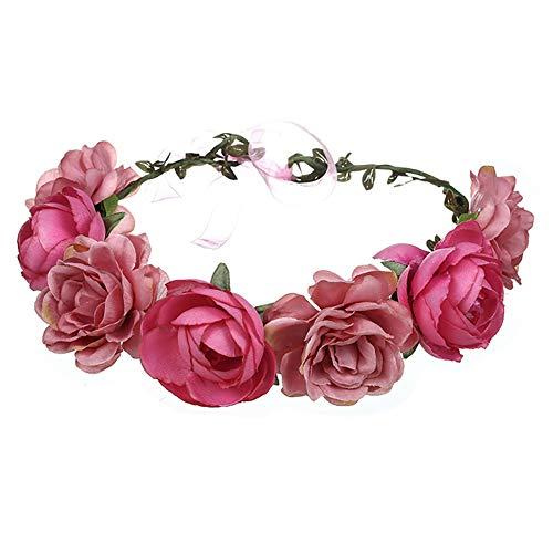 (2PCS Rose Blumenkrone Leave Blumen-Stirnband mit justierbarem Band Brauthaar-Rebe Böhmen Hochzeit Haarschmuck für Mädchen (Pink & Red))