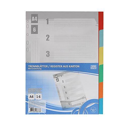 TTO Trennblatt A4, 1-6, Karton, Weiß