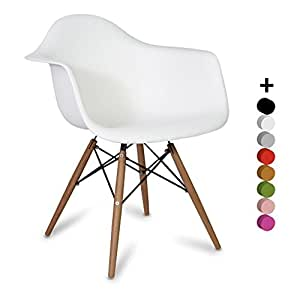 Chaise Scandinave - DAW Style - Blanc - Inspiration Charles&Ray Eames - 63 cm x 61 cm x 80 cm - Pemium Design (Blanc)