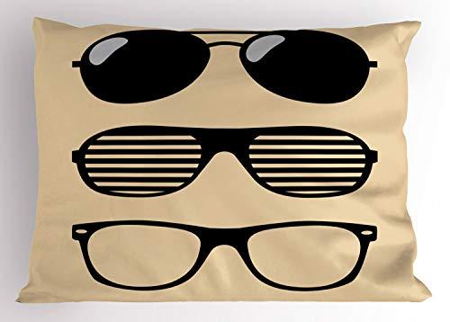 ABAKUHAUS Indie Kissenbezug, Vintage-Stil Sonnenbrille, Dekorativer Standard Size Gedruckter Kissenbezug, 65 x 50 cm, Weiß und Schwarz