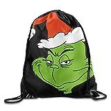 Ocabags Drawstring Backpack Sack Bag The Grinch Dr Seuss Santa Home Travel Sport Storage Hiking Running Bags