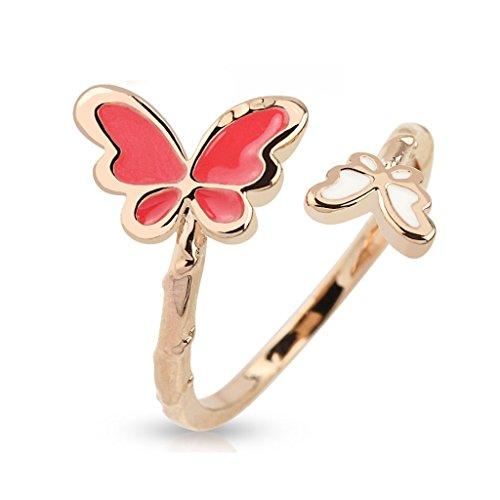 bungsa® con farfalla farfalla donna oro rosa rosa anello regolabile (Zehring mano anello regolabile e flessibile unghie anello unghie Uomo Donna Gioielli fusssc piede ad anello Toe)