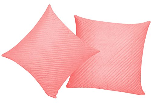 Zikrak Exim Diogonal Quilting Pink Cushion Covers 40x40 Cms (2 pcs set)