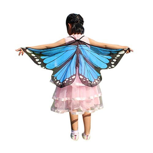 Faschingskostüme Schmetterling Schal Mädchen Karneval Kostüm Schmetterlingsflügel feenhafte Nymphe Pixie Halloween Cosplay Kinder Schmetterlingsf Cosplay Butterfly Wings Flügel LMMVP (Himmelblau)