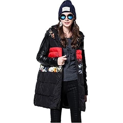 XYXY Giù giacca donna stampa cotone abbigliamento (nero) .
