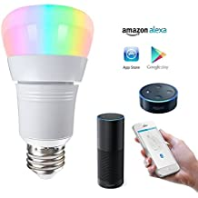 LAKES Lampadina LED Smart WiFi, 7W (equivalente a incandescenza 60W), RGB Multicolor Funziona con Alexa Google Home Assistant, Lampada decorativa per Natale, Halloween, Festival, Party, Pack di 1