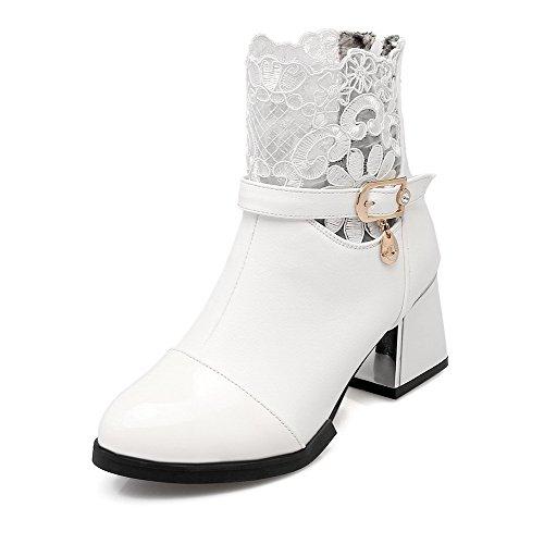 AllhqFashion Damen Reißverschluss Mittler Absatz Rein Niedrig-Spitze Stiefel mit Schnalle Weiß