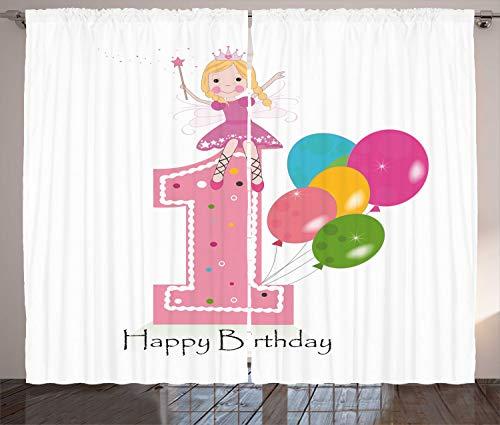 ABAKUHAUS Geburtstag Rustikaler Gardine, Prinzessin Theme Party, Schlafzimmer Kräuselband Vorhang mit Schlaufen und Haken, 280 x 260 cm, Hellrosa und Lila