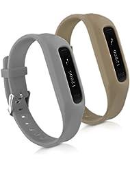 kwmobile 2in1 Set: 2x Sport Ersatzarmband für Fitbit One in Grau Olive Innenmaße: ca. 14 - 20 cm - Silikon Armband mit Uhrenverschluss ohne Tracker