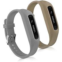 kwmobile 2in1 Set: 2x Sport Ersatzarmband für Fitbit One - Silikon Armband mit Verschluss ohne Tracker Grau Olive - Innenmaße: ca. 14 - 20 cm