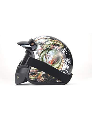 ZYear Casco De La Vendimia para Motocicleta Harley Casco Hombres Rey del Dragón Casco De Bicicleta Mujeres Cara Completa con Gafas De Máscara Brillo Negro (Color : Gloss Black, Size : Small)