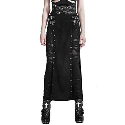 Punk Rave Damen Schwarz Gothic Steampunk Vintage Split Lange Cosplay Party Rock XXL (Gothic Punk Rock Kostüm)