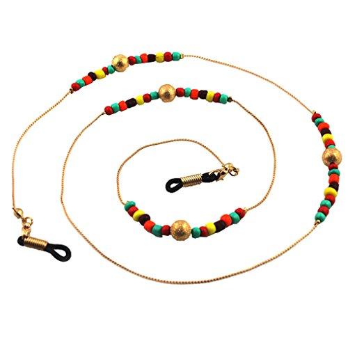 Baoblaze Perlen Brillenband Brille Sonnenbrille Halter Cord Gold Metallkette