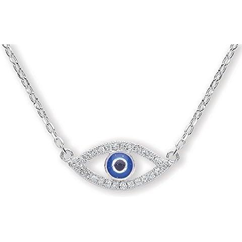 Jodie Rose-Ciondolo a forma di occhio greco, argento Sterling, lunghezza 44 cm