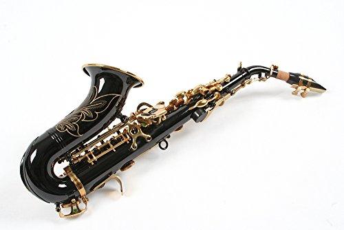 Karl Glaser Sopran Saxophon, gebogen, schwarz/gold, mit Koffer
