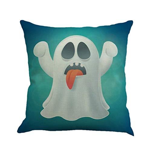 Kakiyi Halloween Pillowcase Dekokissen Abdeckung Clever Geist schönes Bild für Leinenkissenbezug 45x45cm
