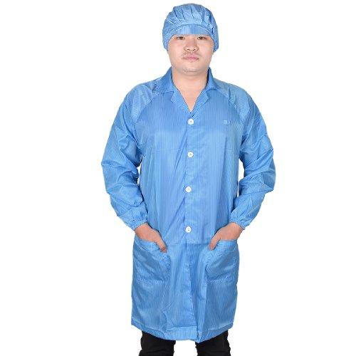 sourcingmap® Hommes Femmes Point bleu collier anti statique ESD Salle blanche robe ensemble w Cap XL
