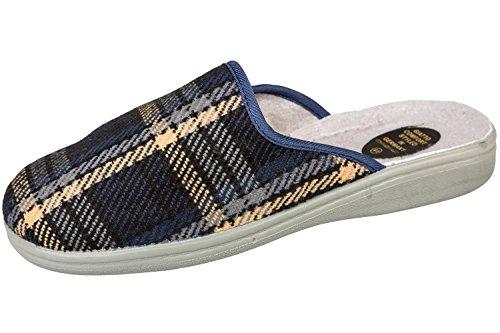 Pantofole Da Uomo Gibra® Con Suola Fissa, Art. 2916, Plaid Blu Scuro, 40-46 Plaid Blu Scuro