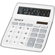 Genie 840 S - Calculadora de con pantalla inclinada de 10 dígitos (panel solar y batería), color plateado