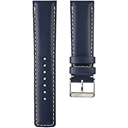 Padded and Stitched D-1 Pilot Genuine Leather Watch Strap in Blue 20mm